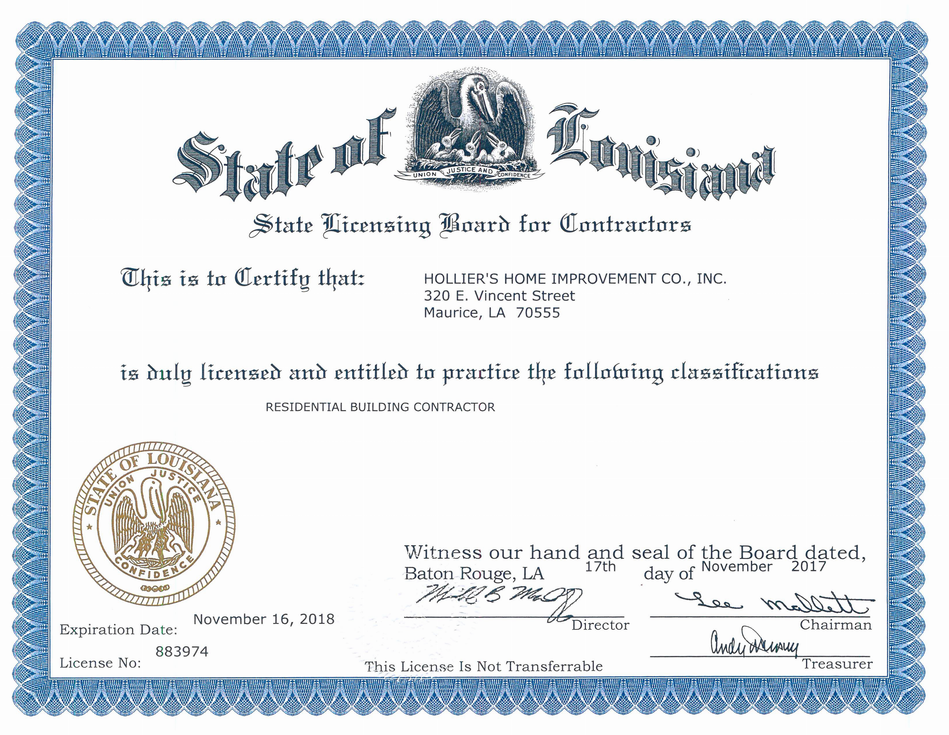 Certifications Hollier S Home Improvement
